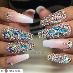 by @haha_nails_: Everyone keeps recreating these nails! It's so cool! 💕💕 please tag me if you use my design 🙃💎💎💎 xoxo #hahanails #swarovskicrystals #blingnails #frenchombre #longnails #pinkandwhite #nails #notpolish #nailpoetry #acryliccolor #naildesigns #nailprodigy #nailsmagazine #hairandnailfashion #hudabeauty #nailpro #nailswag #shapingmatters #mattenails #hairandnailfashion #swannails . . #weddingdress #weddingidea #weddingnails #wedding #swarovski