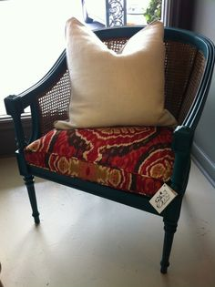 The Molly Chair Teal Green and Gold Vintage Cane Chair with Ikat Fabric Seat Chair Redo, Chair Makeover, Diy Chair, Furniture Makeover, Cane Furniture, Rattan Furniture, Home Decor Furniture, Reupholster Furniture, Upholstered Furniture