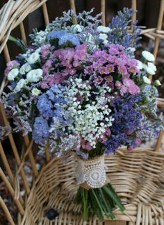 Bouquet with many kind of flowers. Daisy, Gardenia, Forget-me-not, Lavender, Hyd. Dried Flower Bouquet, Dried Flowers, Purple Wedding, Wedding Flowers, Wedding Centerpieces, Wedding Decorations, Renaissance Wedding, Flower Aesthetic, Bride Bouquets