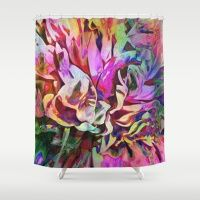 Tropical Painted Peony Shower Curtain