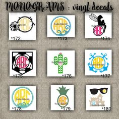 7 Best Monograms Images Initials Decal Monogram Vinyl Decal Vinyl Decals