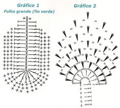 ARTE EM CROCHÊ, TRICÔ E ARTESANATOS: VÁRIOS MODELOS DE FOLHAS DE CROCHÊ COM GRÁFICO E PASSO A PASSO Knitting Designs, Knitting Patterns, Irish Lace, Crochet Flowers, Crochet Top, Diagram, Hair Accessories, Crochet Stitches For Beginners, Finger Crochet