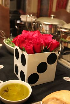 casino party, squar, casino parti, bunco party, game night, flower centerpieces, vegas theme, party centerpieces, casino night