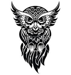 Owl vector tattoo by galina on VectorStock®