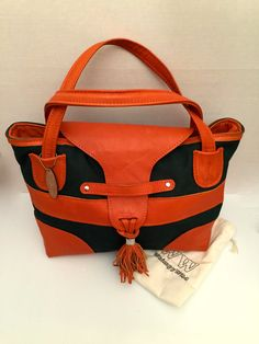 Orange and Green Tote, canvas handbag, leather and canvas bag.  heavy duty tote