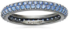 Myia Passiello Colors Swarovski Zirconia Arctic Blue Slim Stackable Ring, Size 6 >>> You can get more details by clicking on the image.