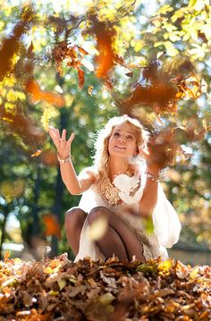 Never too old to play with leaves!
