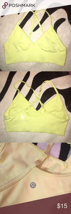 Lululemon Sports Bra Neon Yellow color. Don't have the pads :( perfect condition no piling. Size tag not attached but I'm pretty sure it's a size 8. Either size 8 or 6 lululemon athletica Other