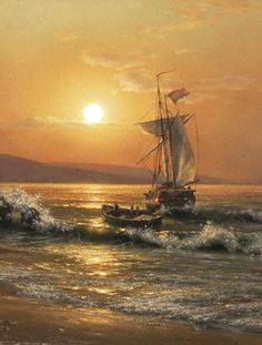 Golden Age Of Piracy, Ghost Ship, Gif Photo, Yacht Boat, Animation, Seascape Paintings, Art Paintings, Russian Art, Tall Ships
