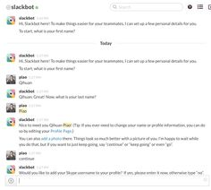 """Slack allows you to complete your profile through a """"chat"""", with slackbot :)"""