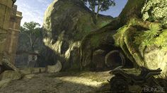 This image shows a run down environment that has ruins and a lot of over grown plants and moss. We could use some of these in the game to portray that it is a hostile environment