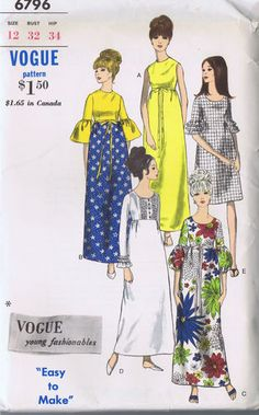 Vintage Empire Dress. Sewing Pattern 60s Vogue 6796. Size 12, Bust 32, Hip 34 Uncut | eBay