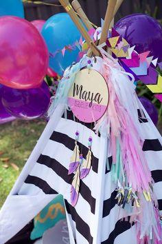 Garland/Bunting from a Boho Teepee 1st Birthday Party via Kara's Party Ideas   KarasPartyIdeas.com (37)