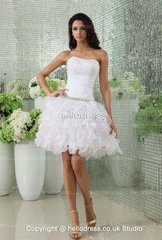 Lovely Inexpensive Beach Wedding Dresses For White Organza Strapless Beading Ruffles Best Wedding Dresses, Ruffles, One Shoulder Wedding Dress, Nice Dresses, Beach, Beading, Women, Fashion, Moda