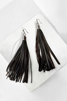 JAKIMAC Leather Tassel Drop Earring