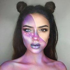 💫✨Star light, star bright ✨💫 ---> Experience my galaxy mak. Cool Makeup Looks, Halloween Makeup Looks, Pretty Makeup, Halloween Ideas, Unique Makeup, Creative Makeup Looks, Space Girl Kostüm, Alien Make-up, 3d Camera