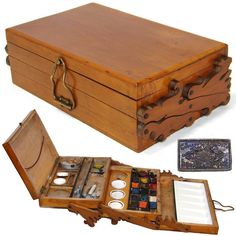 Fabulous rare antique French painter's set, a expanding box with wonderful scroll cut side hinges and many original watercolor cakes or bricks porcelain mixing pots inside!