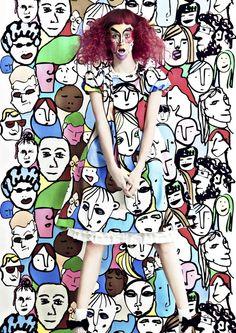 POP ART by Munenari Maegawa – bold line work, art school illustration style, portrait cartoon style, hand drawn print