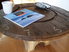 Cable spool coffee table.