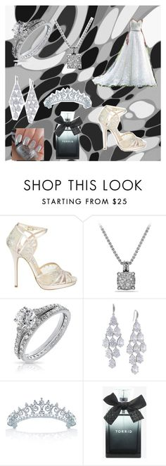 """Chelsea Bell"" by bexie16 on Polyvore featuring Maggie Sottero, Jimmy Choo, David Yurman, Bling Jewelry, Carolee and Torrid"