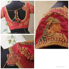 Every bride wants something unique and classy embellishments on their bridalblouses. But some designs are repeated season after season. One such design from Paroksha couture. South Indian Blouse Designs, Best Blouse Designs, Wedding Saree Blouse Designs, Boho Mode, Embroidery Neck Designs, Hand Embroidery, Indian Bridal Sarees, Business Mode, Stylish Blouse Design