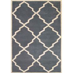 Decorate any room in the home with this geometric hand-tufted wool rug. The area rug features a repeating diamond ivory design against a blue-gray background. It is made of 100 percent wool and has a 0.5-inch pile height that cleans up easily.