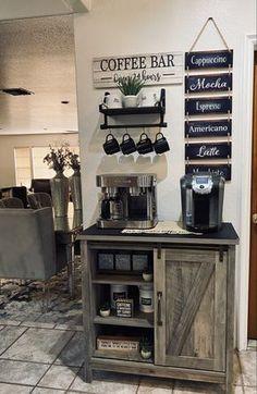 Farmhouse Bar Carts, Farmhouse Buffet, Farmhouse Kitchens, Country Farmhouse Decor, Farmhouse Design, Coffee Bar Ideas, Coffee Bar Design, Coffe Bar, Coffee Nook