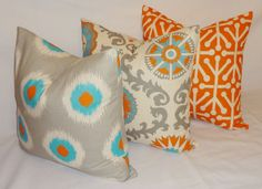Pillow Trio Turquoise Blue Grey Orange Ikat Geometric Pillow Cover Decorative Throw Pillow 18x18. $49.00, via Etsy.