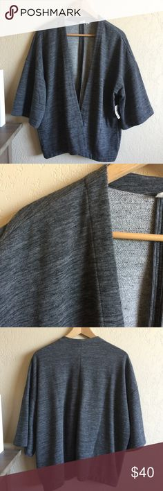 GAP Charcoal Heather French Terry Kimono Cardigan Brand new with tags. Dropped shoulders, kimono sleeves, and deep pockets on both sides. Super soft and extremely comfortable. Size XS but it's larger on my petite frame (last photo), so I'd say it can fit a small too without any problems! Really cute but just need to downsize. Great for all seasons, can be dressed up or worn for athleisure. I'd like to stay around this price for this particular item, but feel free to Bundle to save! Thanks…