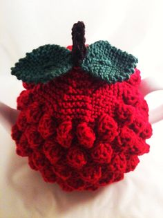 Handknitted Raspberry Tea Cosy - in Pure Merino Wool - by Tafferty Designs… Tea Cosy Knitting Pattern, Tea Cosy Pattern, Knitting Patterns, Crochet Patterns, Scarf Patterns, Knitting Tutorials, Crochet Crafts, Crochet Projects, Hand Crochet