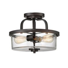 Kitchen Lighting Ideas Poteau Semi Flush Mount - Stylish and understated, this 2 Light Semi Flush Mount features clear glass shades and structures finished in rich English bronze. Multi Luminaire, Luminaire Mural, Ceiling Fixtures, Light Fixtures, Ceiling Lights, Ceiling Fans, Semi Flush Lighting, Strip Lighting, Lighting Ideas