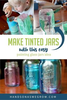 Learn how to make your own tinted mason jars with a kid-friendly craft tutorial! What will you fill your colorful jars with? Tinted Mason Jars, Mason Jar Diy, Mason Jar Crafts, Craft Projects For Kids, Diy Crafts For Kids, Diy Projects, Fun Activities For Toddlers, Preschool Activities, Painting Glass Jars