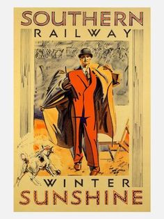 southern railway winter sunshine travel poster 1930s | by nostalgicphotosandprints