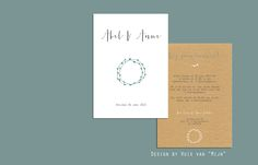 """Trouwkaart, wedding invitation, blaadjes, kraftpapier, design by Huis van """"Mijn"""""""