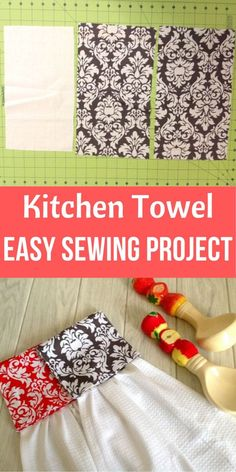 This is an easy hanging kitchen towel sewing pattern, which can be whipped up quickly. Now, you dont have to worry about your kitchen towel falling off ,all you have to do is sew a cute towel holder u Kitchen Towels Crafts, Kitchen Towels Hanging, Crochet Kitchen Towels, Christmas Kitchen Towels, Towel Crafts, Hanging Towels, Easy Sewing Projects, Sewing Projects For Beginners, Sewing Tutorials