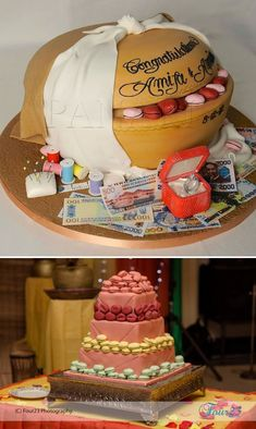 Calabash and kolanut traditional wedding cake for Nigerian wedding - Top cake by Panari Cakes UK, bottom photo by Four23 Photography. Check out this link for more - http://www.weddingfeferity.com/traditional-wedding-cakes-pictures-in-nigeria/