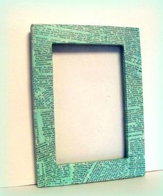 picture frame, holds a photo. This frame has been covered in vintage dictionary paper that has been painted with a turquoise glaze. I can customize any size frame, just let me know if you want other colors, or variations Book Crafts, Crafts To Do, Arts And Crafts, Diy Crafts, Paper Picture Frames, Ways To Recycle, Repurpose, Recycled Books, Funky Junk