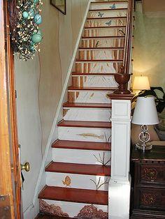 Unique Painted Basement Steps