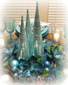 JBigg: Life in Kentucky: Aqua Sparkle Tablescape Peacock Christmas, Silver Christmas Decorations, Christmas Tablescapes, Coastal Christmas, Christmas Centerpieces, Holiday Decor, Blue Centerpieces, Purple Christmas, Centrepieces
