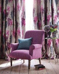 The stunning Wisteria embroidery, offset here by our succulent plain Amara. Pick your favourites online today! Adobe House, Curtain Designs, Bedroom Colors, New Room, Decoration, Living Room Decor, House Design, Curtains, Interior Design
