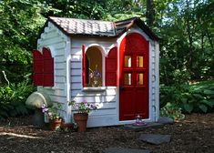 Painted little tykes playhouse.  I had no idea I could do this.  It opens up a world of possibilities!  3-4 cans of rustoleum spray paint.