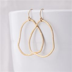 gold filled organic hoop earrings  www.argentojewelry.com