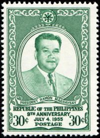 Philippines Stamp - Presidents of the Philippines Ramon Magsaysay 9th Anniversary of the Republic of the Philippines