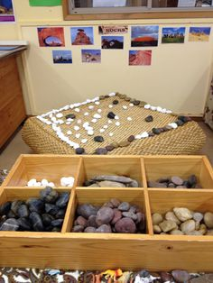 Rocks provided to count, sort, examine and create with in kindergarten. Using items from nature as an opportunity to practice literacy and numeracy, art and creativity. Created by Amanda Bartlett and Samantha Hill.