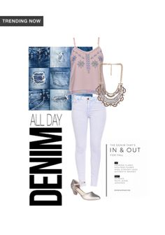 'All day denim' by me on Limeroad featuring Mid Rise Blue Jeans, Gold Necklaces with Pink Tops