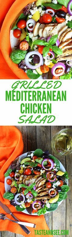 This hearty Mediterranean Grilled Chicken Salad is full of grilled veggies & chicken, feta cheese, and a delightful Basil Balsamic Dressing.  #salad http://tasteandsee.com