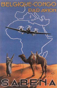 Vintage Travel Poster / Belgique Congo par Avion / Sabena Air Lines                                                                                                                                                     More