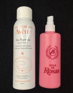 Después de limpiar el rostro un poco de agua de rosas con un algodón y una bruma de agua termal de AVÈNE
