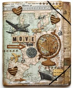I love this art travel journal cover! hmm scrapbook c Travel Journal Scrapbook, Diy Scrapbook, Scrapbook Cover, Travel Journals, Scrapbook Layouts, Art Journals, Scrapbook Templates, Vintage Scrapbook, Travel Journal Pages