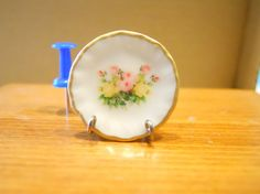 Shabby Flowers  Dollhouse Miniature Plate by TheQuirkyCurioShoppe, $4.00